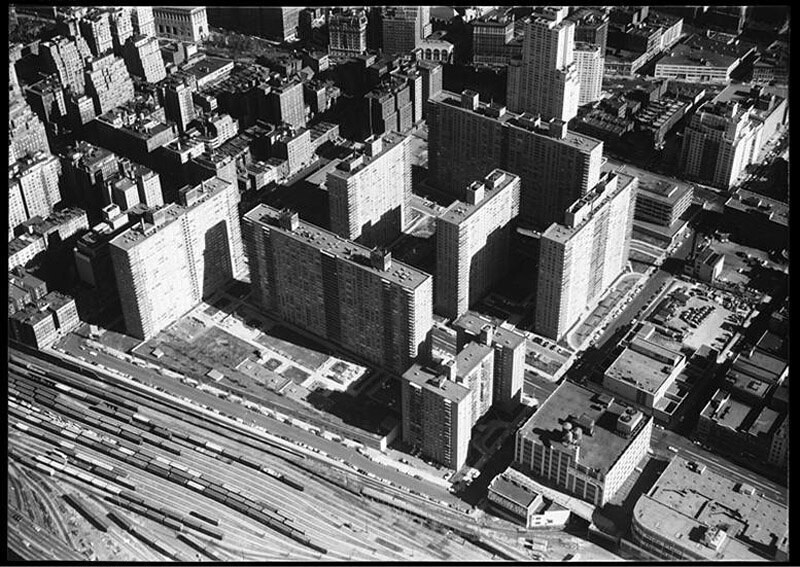 Lincoln Towers, aerial view looking N.E. from near 66th Street and Freedom Avenue.