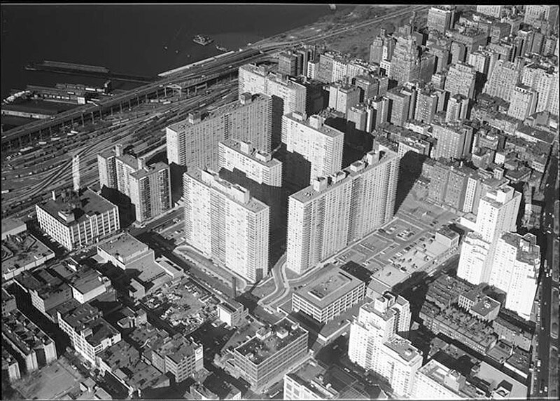 Lincoln Towers, aerial view looking N.W. from near 66th Street and Amsterdam Avenue.