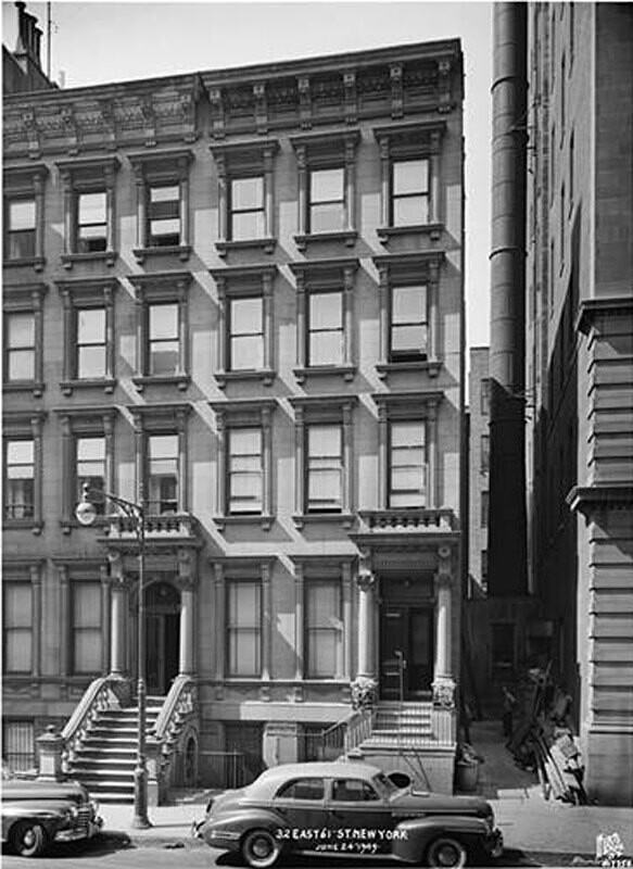 32 East 61st Street. Five-story brownstone, residence.