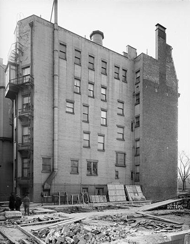 74th Street and Fifth Avenue. North wall of the Simpson residence.