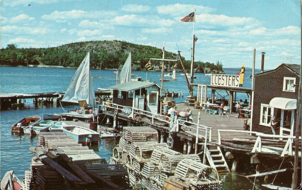 The Fisherman's Wharf on the waterfront at Bar Harbor, Maine, USA