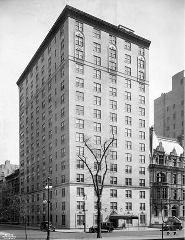 995 5th Avenue at the S.E. corner of 81st Street. Apartment Hotel, The Stanhope.