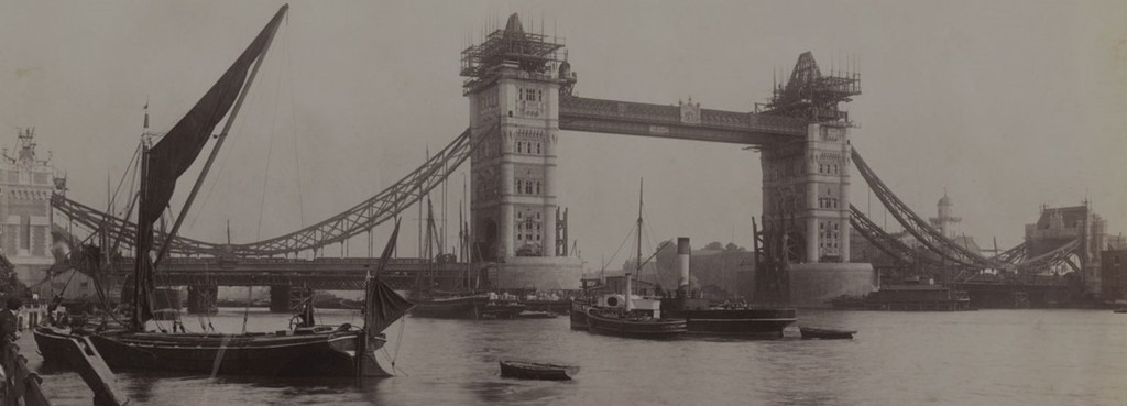 Tower Bridge during construction