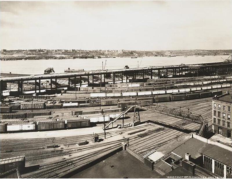West 66th Street and West Side Highway. Elevated highway, railroad yards and Hudson River