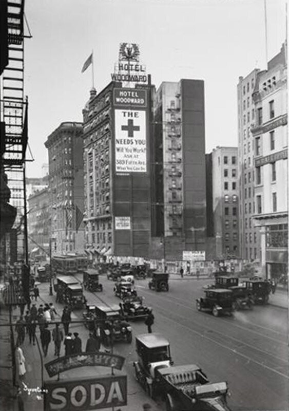 Hotel Woodward Building and View Up Broadway from 53rd Street.