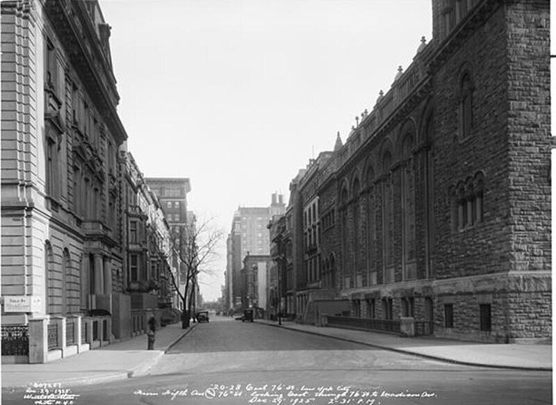 From N.E. corner of 76th Street and 5th Avenue. Looking east through 76th Street to Madison Avenue