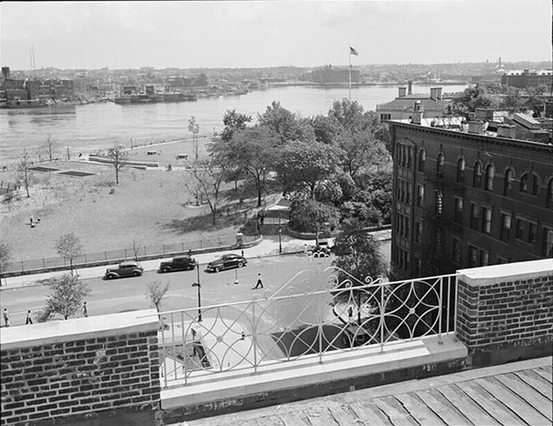 View of park and Gracie Mansion from roof